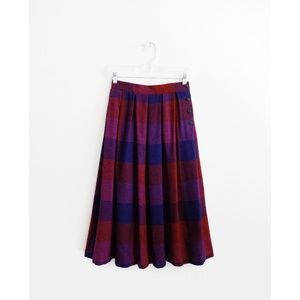 Vintage Red Purple Magenta Check Midi Skirt fit XS
